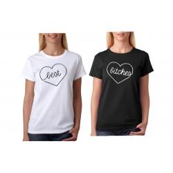 Dámské tričko s potiskem Best v srdci, pro BFF