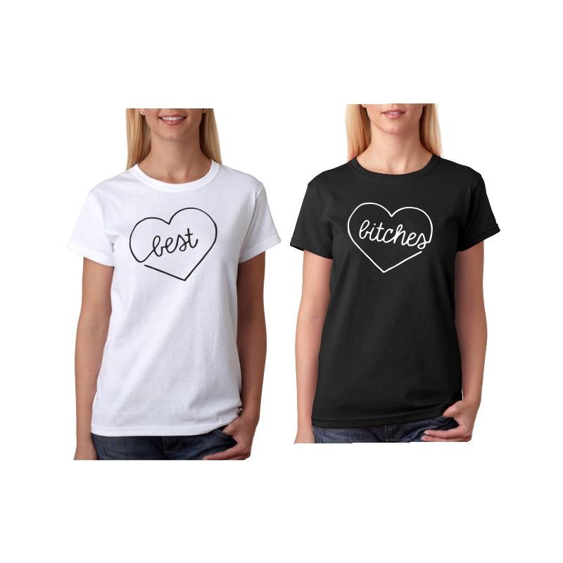 Dámské tričko pro BFF s potiskem  Best a Bitches 5482471894