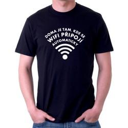 Pánské tričko Doma je tam, kde se wifi připojí automaticky