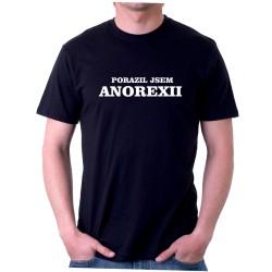 Pánské humorné tričko s potiskem porazil jsem anorexii, které muže být vtipným dárkem pro muže