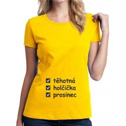 Těhotná, holčička, měsíc narození - Dámské těhotenské tričko