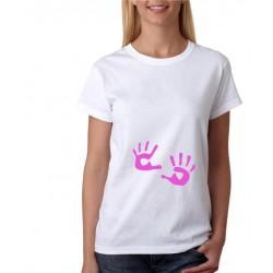 Těhotenské tričko, otisk dětských dlaní - Dámské těhotenské tričko pro nastávající maminky