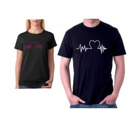 Pánské tričko pro zamilované páry s křivkou a srdcem