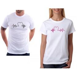 Dámské tričko pro zamilované páry s křivkou a srdcem