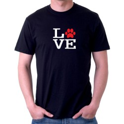 Pánské tričko s textem LOVE a motivem tlapky pejska