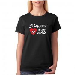 Shopping is my cardio - Dámské tričko s vtipným motivem