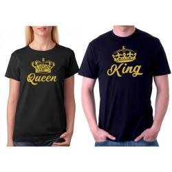 King ze zlatým potiskem - Pánské párové tričko pro zamilované páry