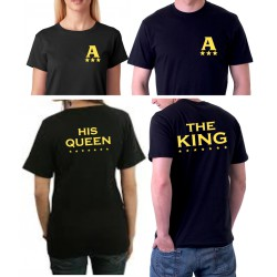 The King and His Queen s potiskem i ze předu zlatou barvou - Párové tričko pro zamilované.