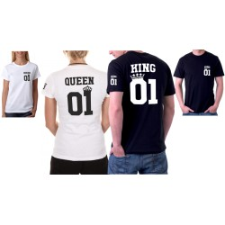 Set triček pro zamilované páry. King 01 / Queen 01 z potiskem ze předu i na rukávu