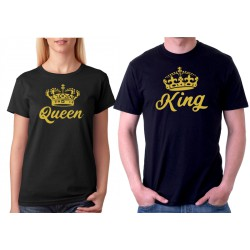 King a Queen, zlatý potisk, ze předu - Párové tričko pro zamilované.