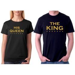 The KING a His QUEEN s zlatým potiskem - Párové trička pro zamilované.