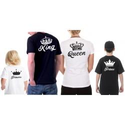 KING a QUEEN s potiskem na zádech - Párové trička pro zamilované.