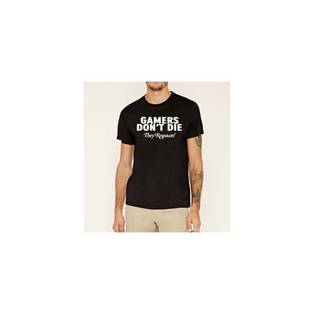 Gamers Don´t DIE. They Respawn! - Pánské tričko s vtipným motivem
