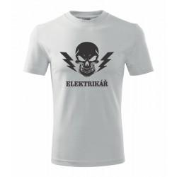 Elektrikář s blesky a lebkou - Pánské tričko  s potiskem lebky pro elektrikáře