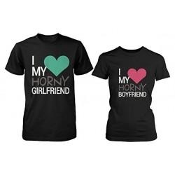 Trička pro páry s potiskem I love my horny Girlfriend / Boyfriend. dárek k valentýnu
