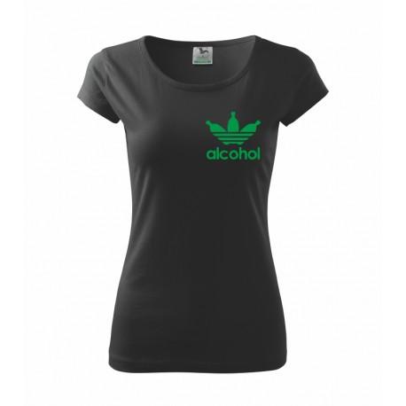 Dámské triko Alcohol, parodie na značku Adidas, skvělý vtipný dárek.