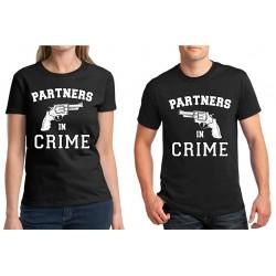 Trička pro páry s vtipným potiskem Partners in Crime. Dárek k Valentýnu
