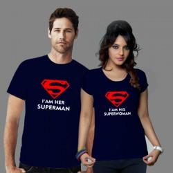 Párové trička s potiskem I am her super man. I am his super woman. Dárek k Valentýnu
