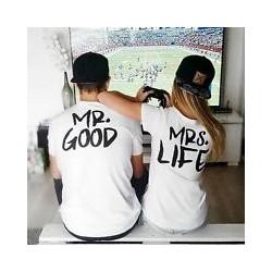 Set triček pro pár s potiskem Mr. Good - Mrs. Life. Dárek k svátku zamilovaných, Valentýnu