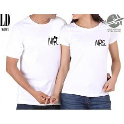 Párové tričko s potiskem Mr. a Mrs pro zamilované páry s potiskem na prsou. dárek z lásky k valentýnu