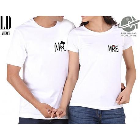 fc765cb9131a Mr. Mrs. - Párové tričko pro zamilované páry s potiskem na prsou