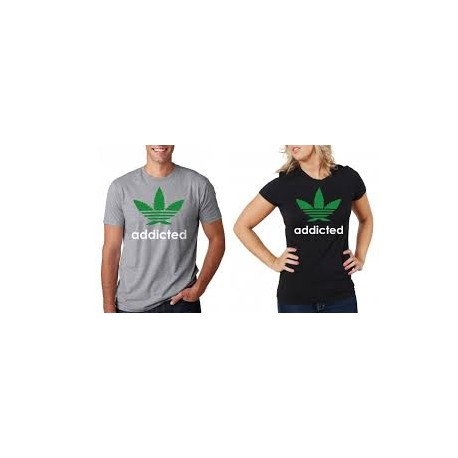 Addicted  - Pánské tričko s potiskem marihuany a textu addicted