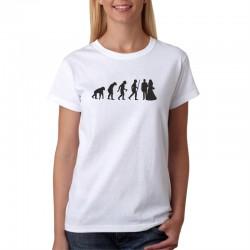 Evolution Manželství - Dámské Tričko s vtipným potiskem