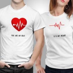 Trička pro páry - You are my Beat, You are my Heart, dárkové trička pro zamilované páry