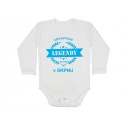 Opravdové legendy se rodí v Srpnu. Kojenecké body s dlouhým rukávem pro děti narozené v Srpnu. Dárek pro miminko