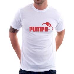 Pánské vtipné tričko s potiskem PUMPA v červené barvě