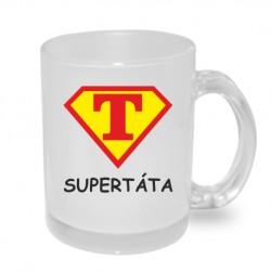 Dárek pro Tatínka hrnek Super Táta ve znaku supermana v červené a žluté barvě