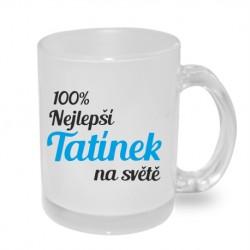 Dárek pro Tatínka hrnek 100% nejlepší tatínek na světě v barvě modré