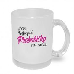 Dárek pro Prababičku hrníček 100% nejlepší Prababička na světě v růžové barvě