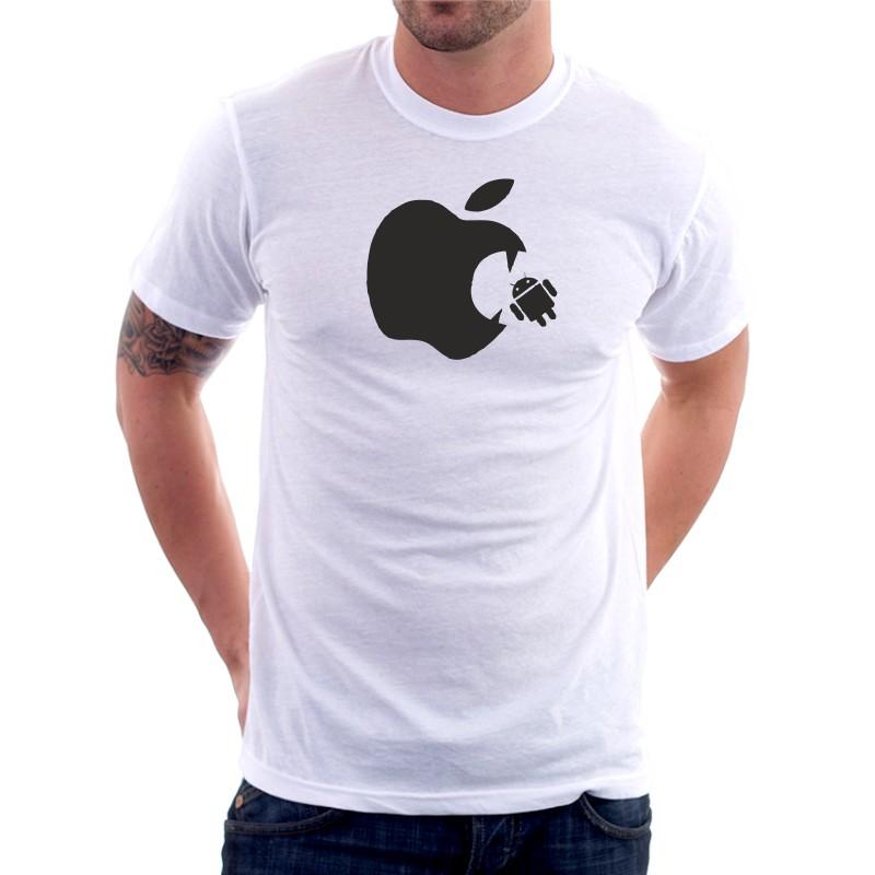 12191015a13 Apple Vs Android - Pánské Tričko s vtipným potiskem