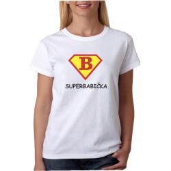 Dárek pro babičku. Vtipné tričko s potiskem super babička ve stylu supermana.