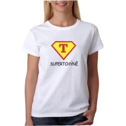 Dárek pro tchýni. Vtipné tričko s potiskem super tchýně ve stylu supermana.