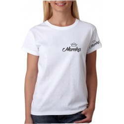 Dámské triko s potiskem Mamka s korunkou na prsou a rukávu