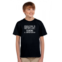 Dárek pro kluky, tričko s potiskem: Education is important. Gaming is importanter