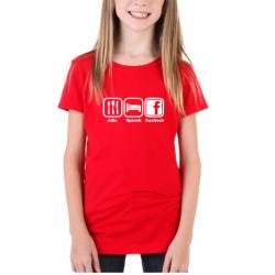Dárek pro holčičky. Tričko s potiskem - Jidlo, spánek, facebook