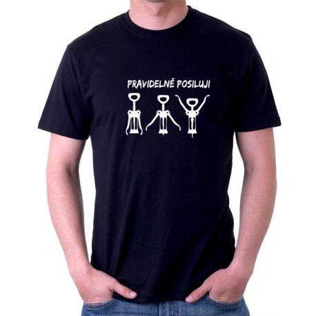 Pánské tričko s vtipným potiskem pravidelně posiluji, dárek pro muže