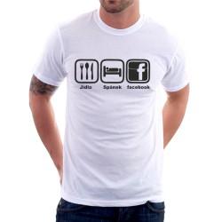 Pánské tričko Jídlo Spánek Facebook, dárek pro chlapce