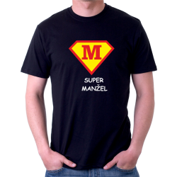 """Humorný dárek pro manžela. Vtipné tričko s potiskem """"Super manžel ve stylu supermana""""."""