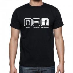 Jídlo - Spánek - Facebook - Pánské Tričko s vtipným potiskem