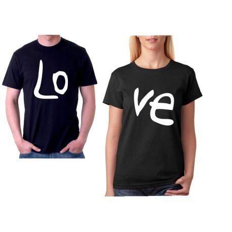 Párové trička pro zamilované páry. Trička s potiskem LoVe, ideální dárek k valentýnu.