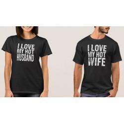 Set vtipných triček pro zamilované páry. Já miluji svého krásného manžela a Já miluji svou manželku.