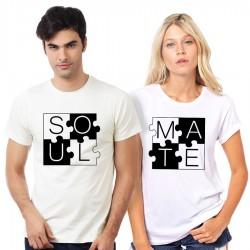 """Set vtipných triček pro zamilované páry. Tričko """"Soul Mate"""". Originální dárek pro něho nebo pro ní"""