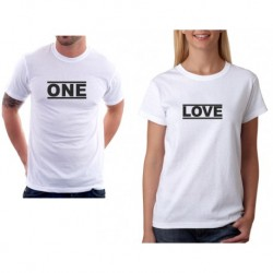 Set triček pro páry. One, Love. Dárek pro zamilované