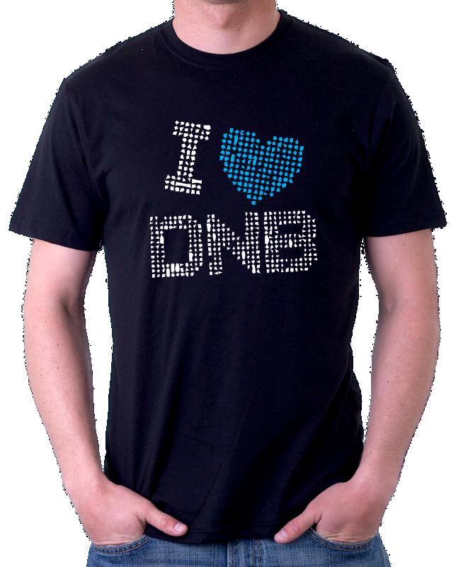 Pánské tričko s potiskem I love DNB. Miluji Drum and Bass e231db7466