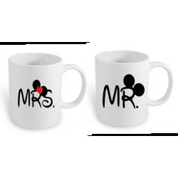 Sada 2 hrnků pro páry Mr. a Mrs. Mickey