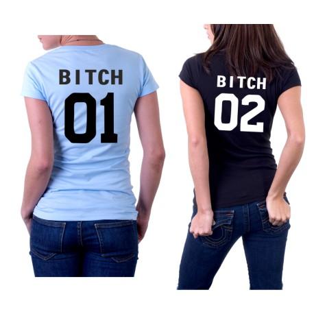 Set triček pro BFF. Párové trička Bitch 01, Bitch 02